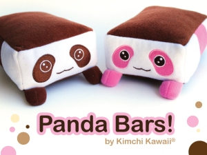 The super cute and kawaii chocolate and strawberry panda bar plushies!